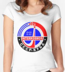 INTERKOSMOS Интеркосмос 1980er Jahre Sowjetisches Raumfahrtprogramm Tailliertes Rundhals-Shirt