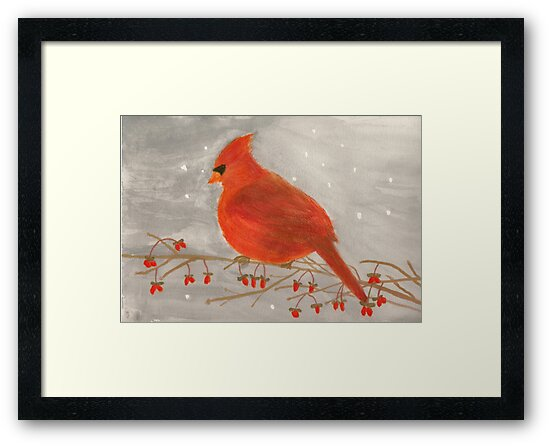 Cardinal Redbird With Red Berries Watercolor by Conni Schaftenaar