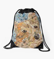 buff corgi on blue confetti Drawstring Bag