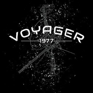 Voyager Spacecraft 1977 NASA Program Deep Space Probe Vintage Grunge Distressed  by creationseven