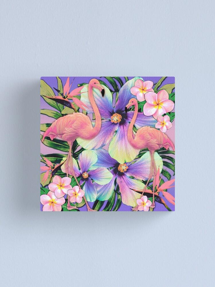 Alternate view of Retro Flamingo Tropical Violet Canvas Print