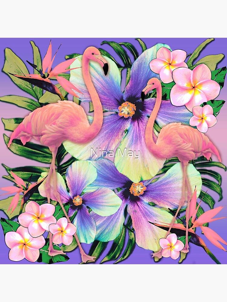 Retro Flamingo Tropical Violet by ninabmay