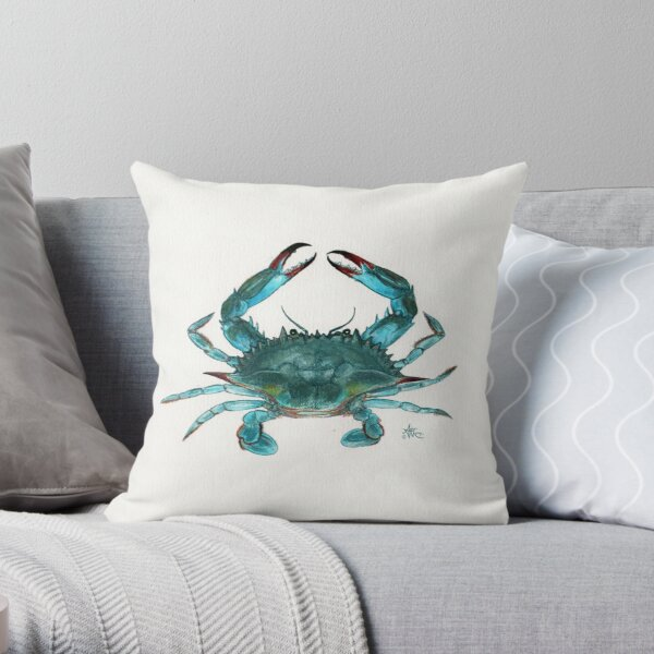"""Blue Crab"" by Amber Marine, watercolor painting, © 2013 Throw Pillow"