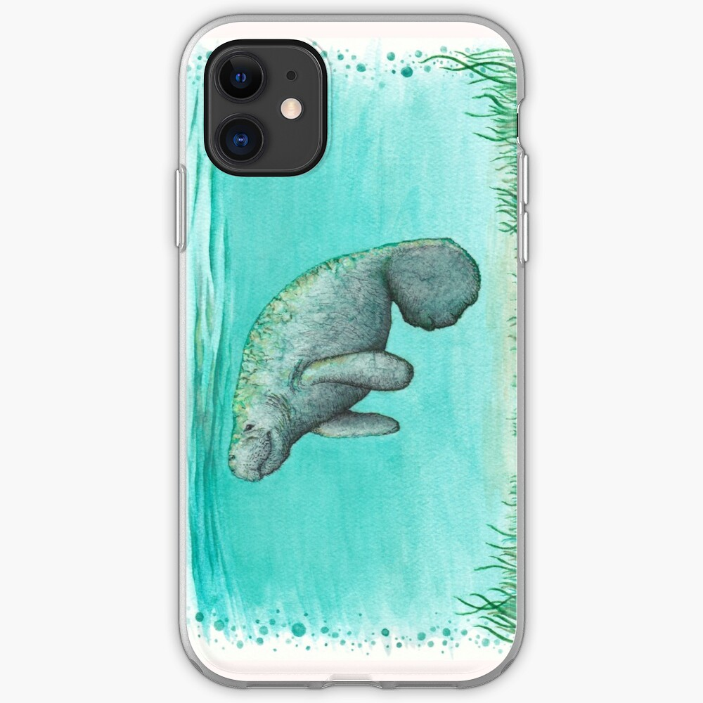"""Mossy Manatee"" by Amber Marine ~ Watercolor and ink painting, art © 2016 iPhone Soft Case"