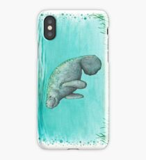 """""""Mossy Manatee"""" by Amber Marine ~ Watercolor and ink painting, art © 2016 iPhone Case"""