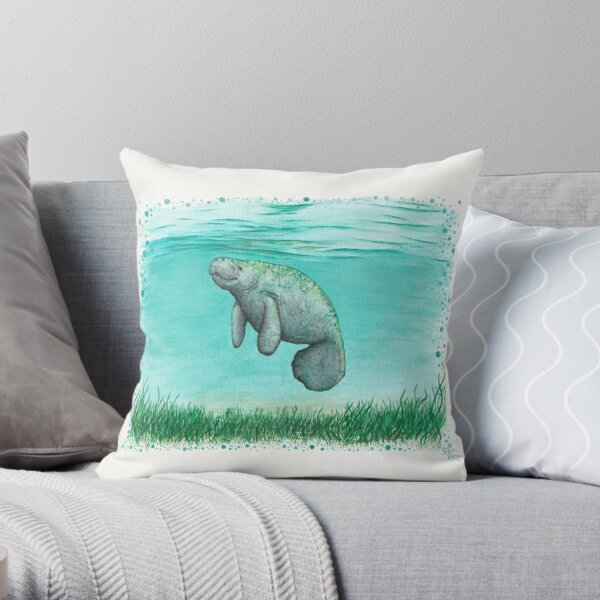 """Mossy Manatee"" by Amber Marine ~ Watercolor and ink painting, art © 2016 Throw Pillow"