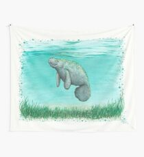 """Mossy Manatee"" by Amber Marine ~ Watercolor and ink painting, art © 2016 Wall Tapestry"