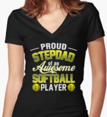 T-Shirt For Step Dad From Softball Player Father's Day Tee. Women's Fitted V-Neck T-Shirt