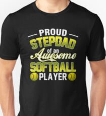 T-Shirt For Step Dad From Softball Player Father's Day Tee. Unisex T-Shirt