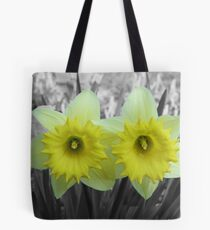 Yellow Daffodils on Black and White Tote Bag