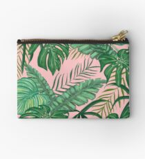 Pretty Pink & Tropical Greenery Pattern Zipper Pouch