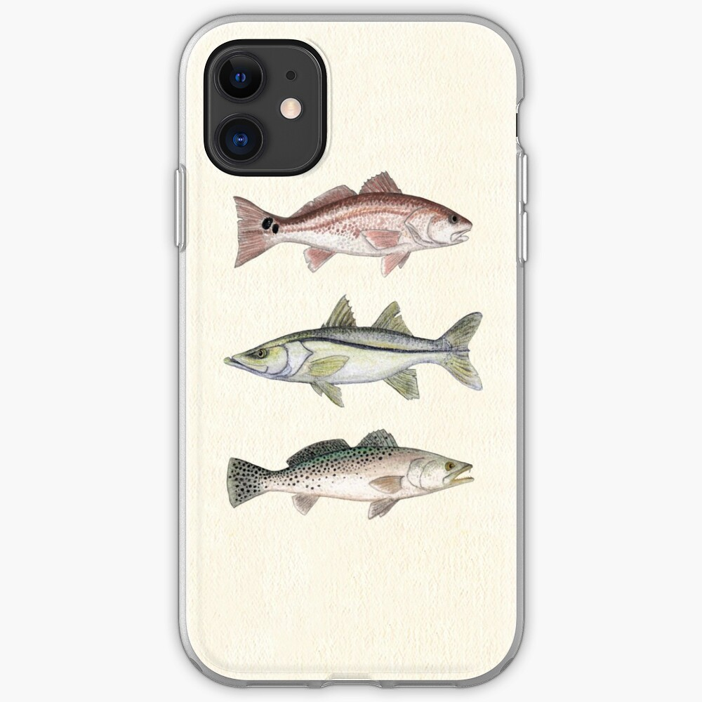 """Inshore Slam""  by Amber Marine ~ watercolor redfish, snook, and trout art, © 2013 iPhone Soft Case"