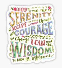 Pegatina Oración de la serenidad Mano con letras