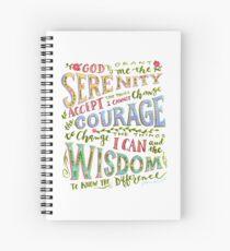 Serenity Prayer Hand Lettered Spiral Notebook
