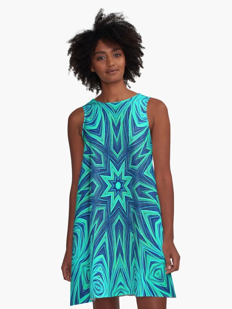 Blue Ice Snowflake Kaleidoscope A-Line Dress Front
