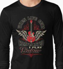 Camiseta de manga larga Cuando la vida se complica, toco la guitarra