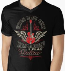 When Life Gets Complicated I Play Guitar Men's V-Neck T-Shirt