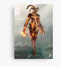 Skyrim Flame Atronach Alternative Fan Art Poster Metal Print