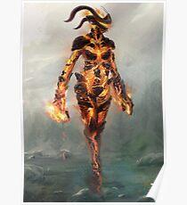 Skyrim Flame Atronach Alternative Fan Art Poster Poster