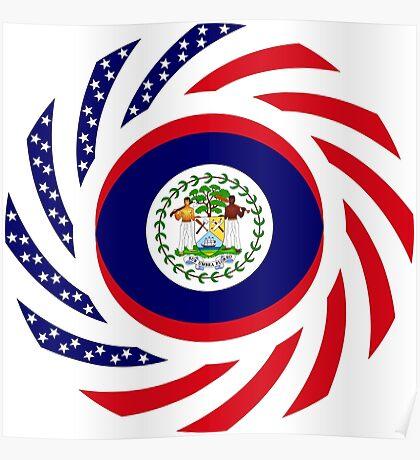 Belizean American Multinational Patriot Flag Series Poster