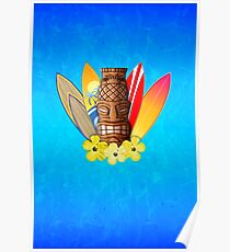 Surfboards And Tikis Poster