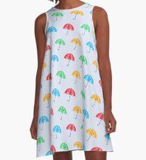 Rainy Day Kawaii Umbrellas A-Line Dress