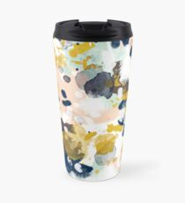 Sloane - Abstract painting in free style navy, mint, gold, white, and turquoise  Travel Mug