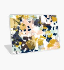 Sloane - Abstract painting in free style navy, mint, gold, white, and turquoise  Laptop Skin