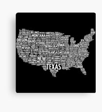 TYPOGRAPHY USA Canvas Print