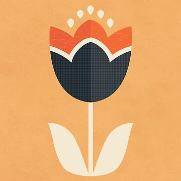 Retro Tulip - Orange and Cream by daisy-beatrice