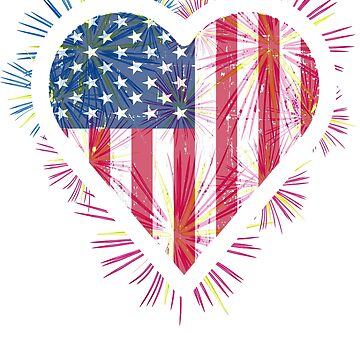 USA Flag Heart Salute T Shirt gift 4th July Pride by orhid