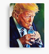 Trump Trying to Drink Water Canvas Print
