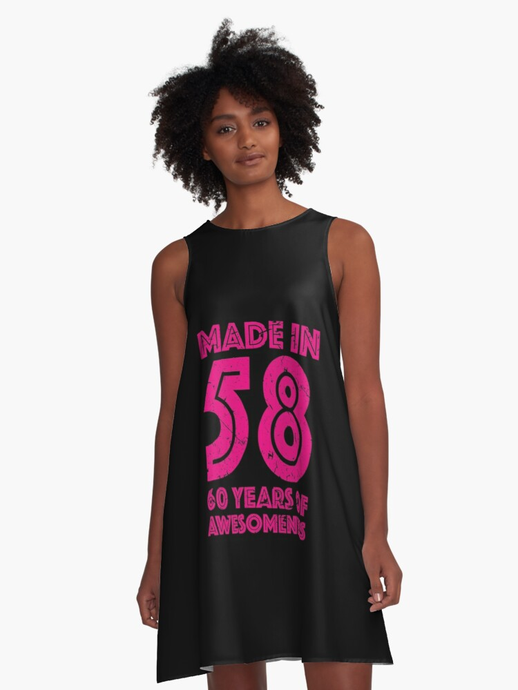 60th Birthday Gift Adult Age 60 Year Old Women Womens A Line Dress Front