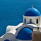 Iconic Blue and White Church in Santorini, Greece by Yen Baet