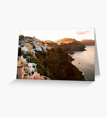 Sunrise in Beautiful Village of Santorini, Greece Greeting Card