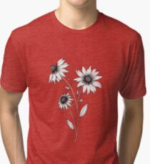 Wildflowers Ink Drawing   Black Background Tri-blend T-Shirt