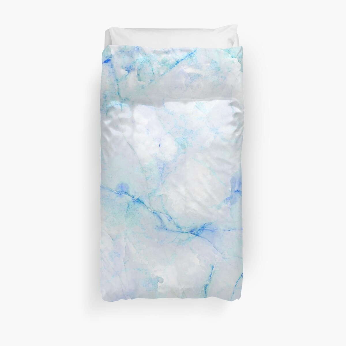 White and Blue Marble Pattern Duvet Cover