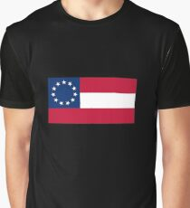 Stars & Bars, USA, America, First American National Flag, 11 stars, 1861, on BLACK Graphic T-Shirt