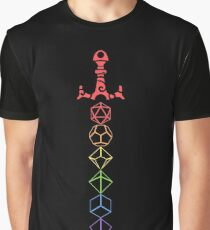 Rainbow Dice Sword LGBT DnD Tabletop RPG Gaming Graphic T-Shirt