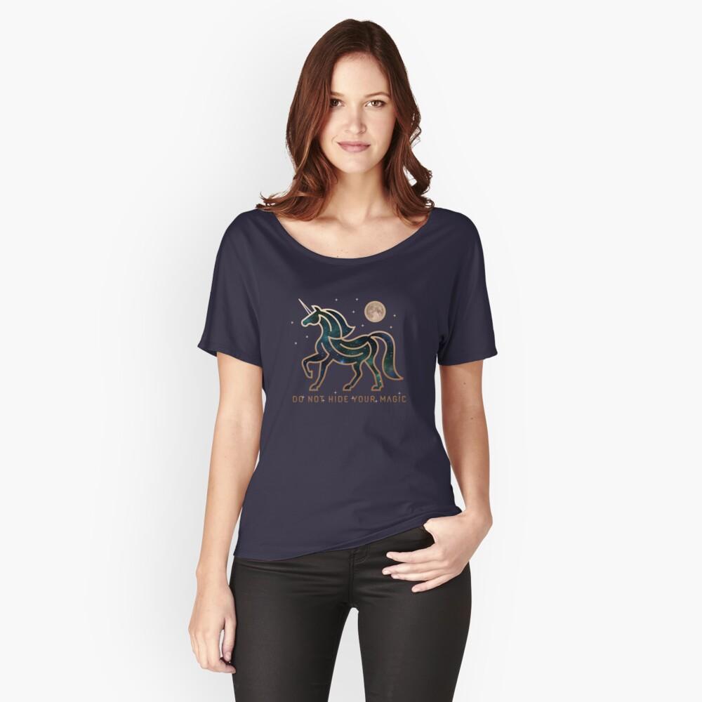 No ocultes tu magia - Unicornio galáctico Camiseta ancha
