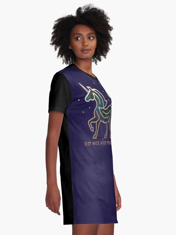 Vista alternativa de Vestido camiseta No ocultes tu magia - Unicornio galáctico