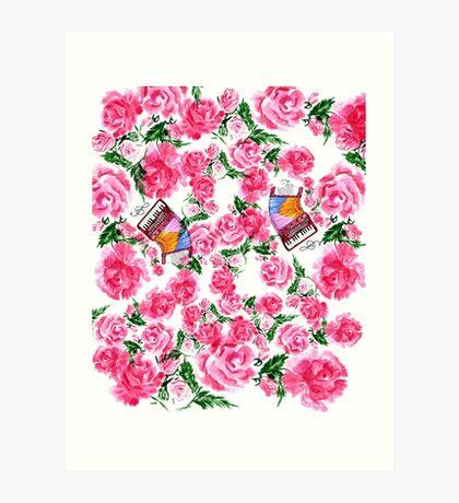 Akkordeon mit Rosen Kunstdruck