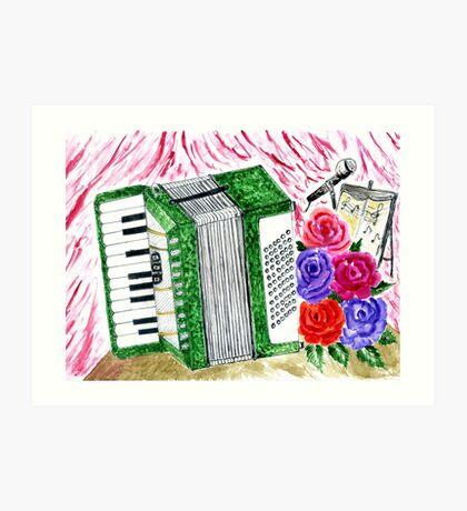 Akkordeon mit Rosen 2 Kunstdruck
