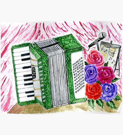 Akkordeon mit Rosen 2 Poster