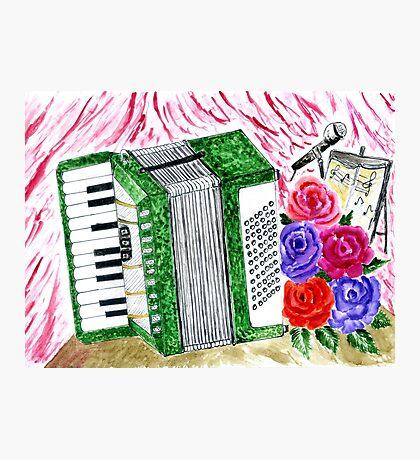 Akkordeon mit Rosen 2 Fotodruck