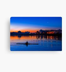 Rower at Sunrise in Salford Quays - England Canvas Print