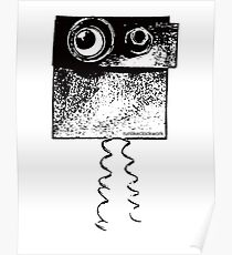 Robot graphic illustration eyes black and white, unusual robot Poster