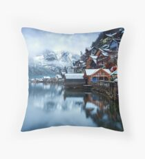 Winter in Hallstatt, Austria Throw Pillow