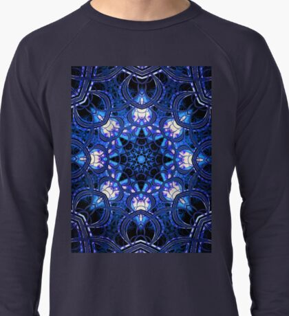 """On the Edge of Bliss"" (Blue Tones) - Geometric Abstract Mandala  Lightweight Sweatshirt"