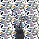 Black cat watching a fish tank by Andreea Dumez